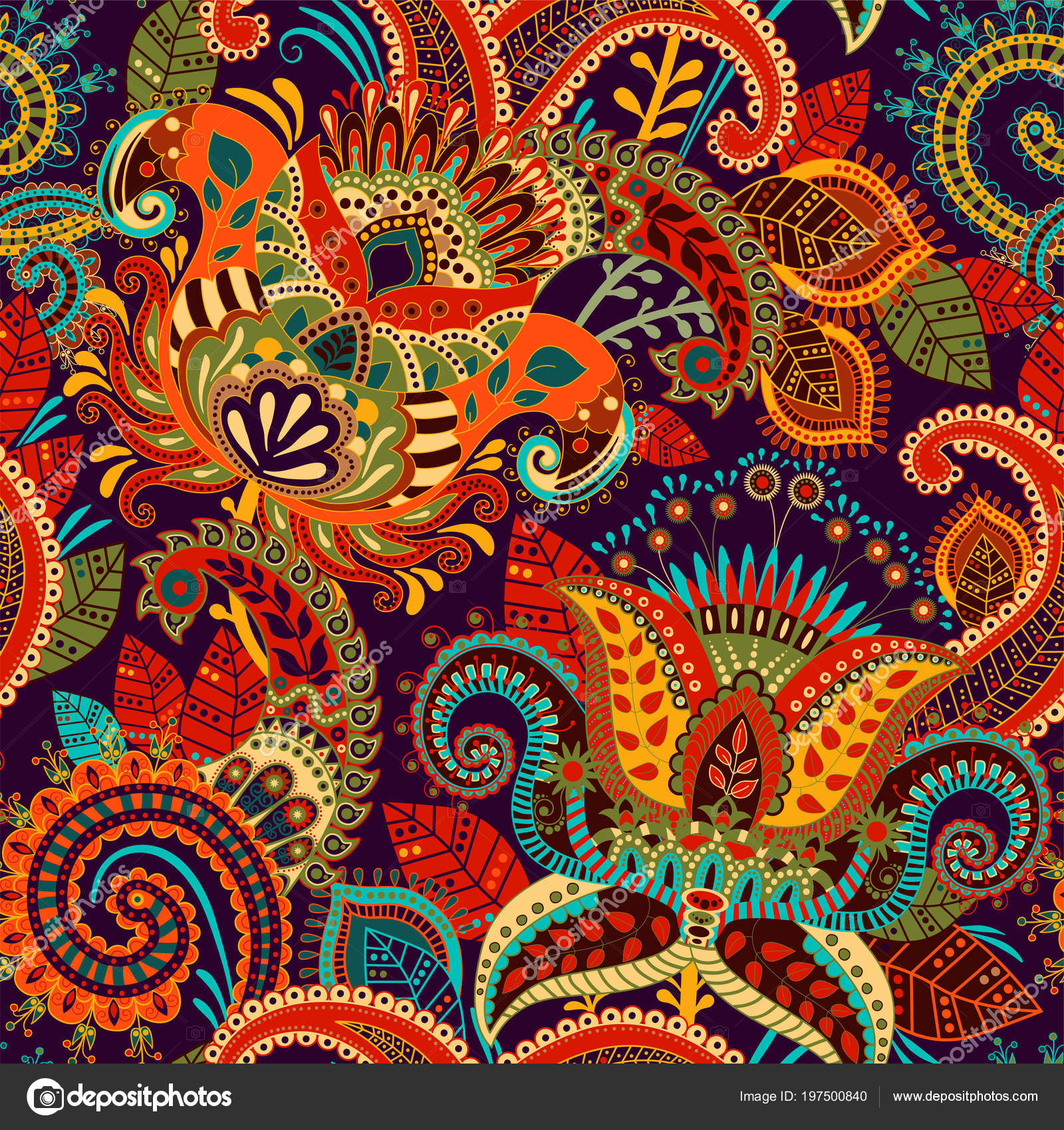 Colorful seamless Paisley pattern. Decorative indian ...