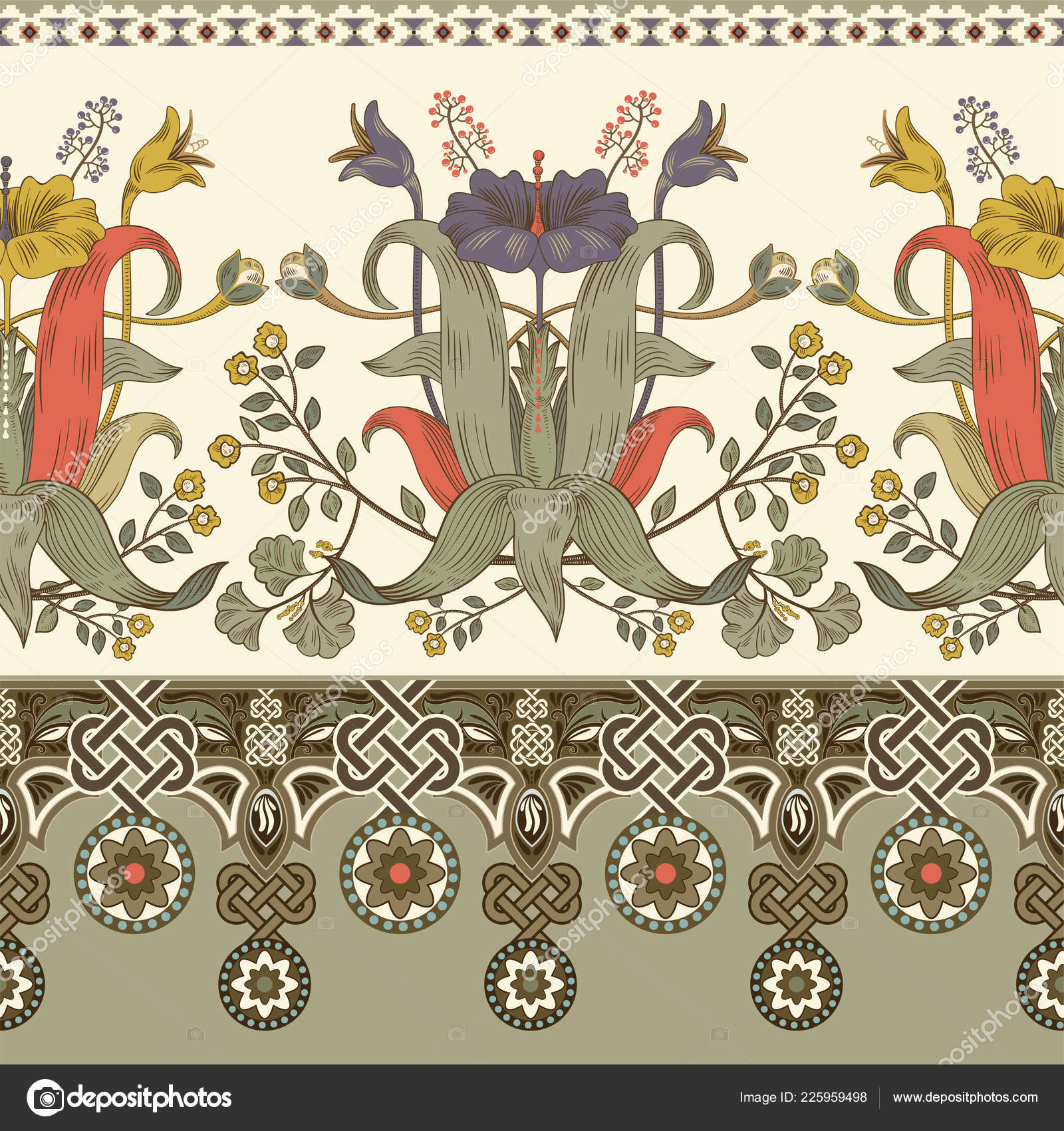 Victorian Floral Fabric Vintage Vector Floral Border Seamless