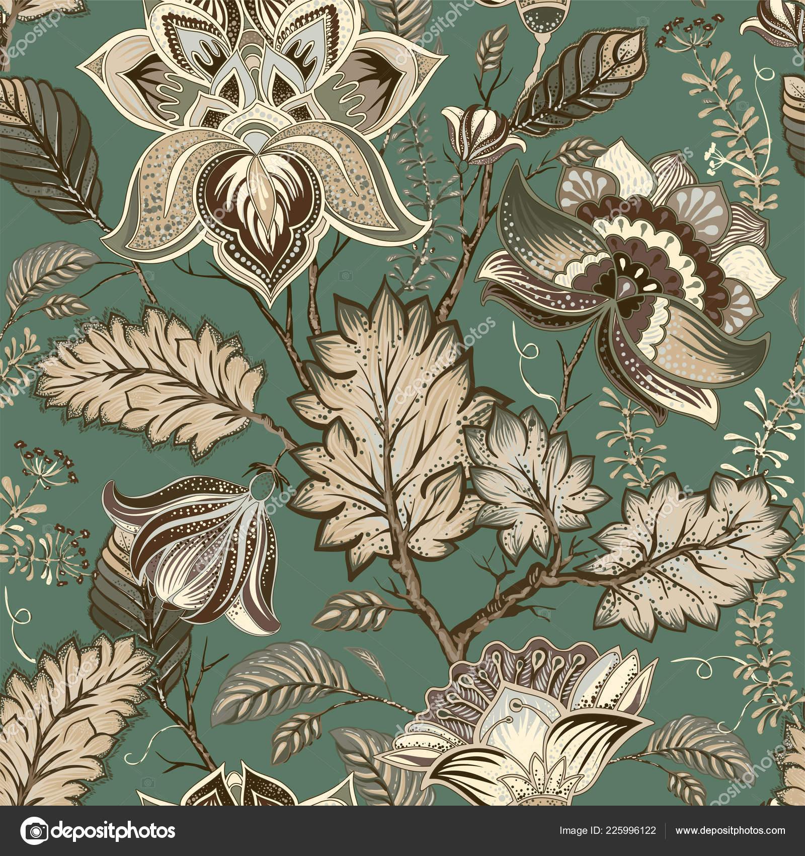 Vector Vintage Floral Patron Estilo Provenzal Grandes Flores