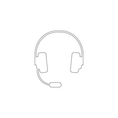headphones. simple flat vector icon illustration. outline line symbol - editable stroke