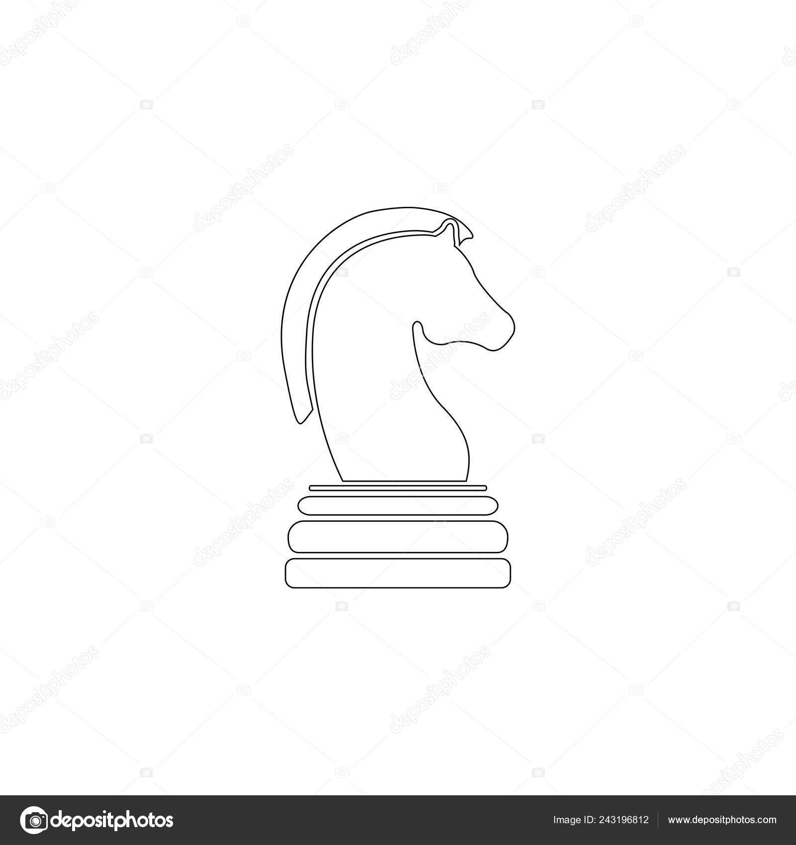 Horse Chess Game Simple Flat Vector Icon Illustration Outline Line Stock Vector C Kolesniko 243196812