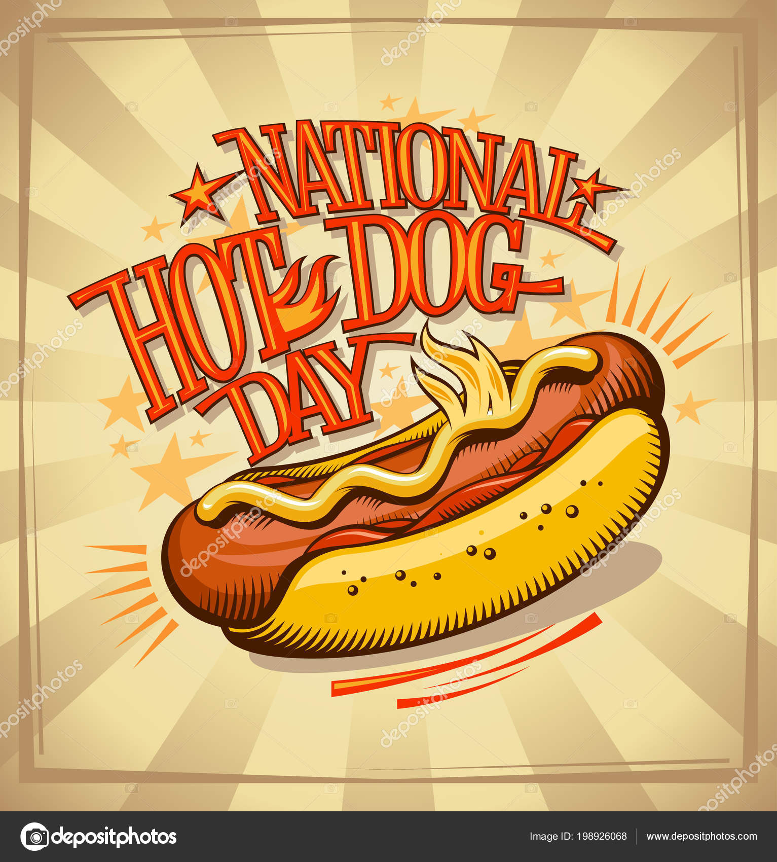 National Hot Dog Day Vector Poster Design Vintage Style Stock Vector