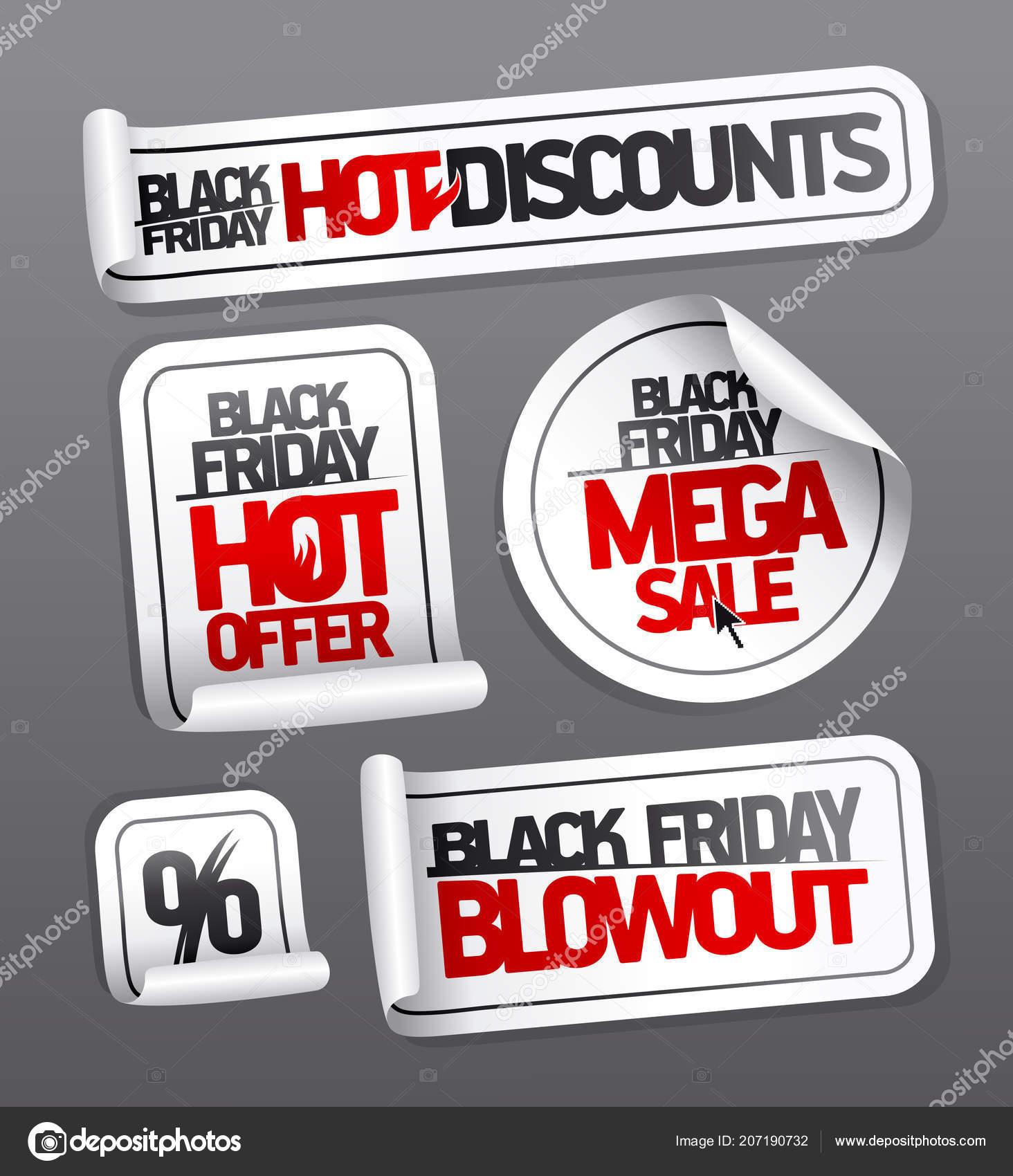 Autocollants de vente vendredi noir remises chauds méga vente noir offre chaud vendredi etc vecteur par slena