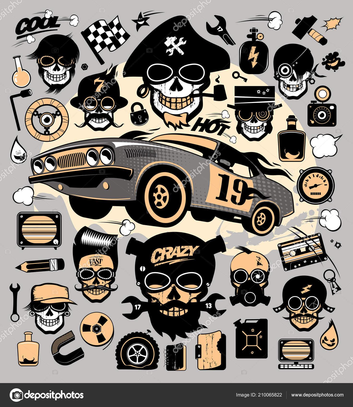 Set Icons Symbols Race Car Repair Tools Steampunk Monsters Music
