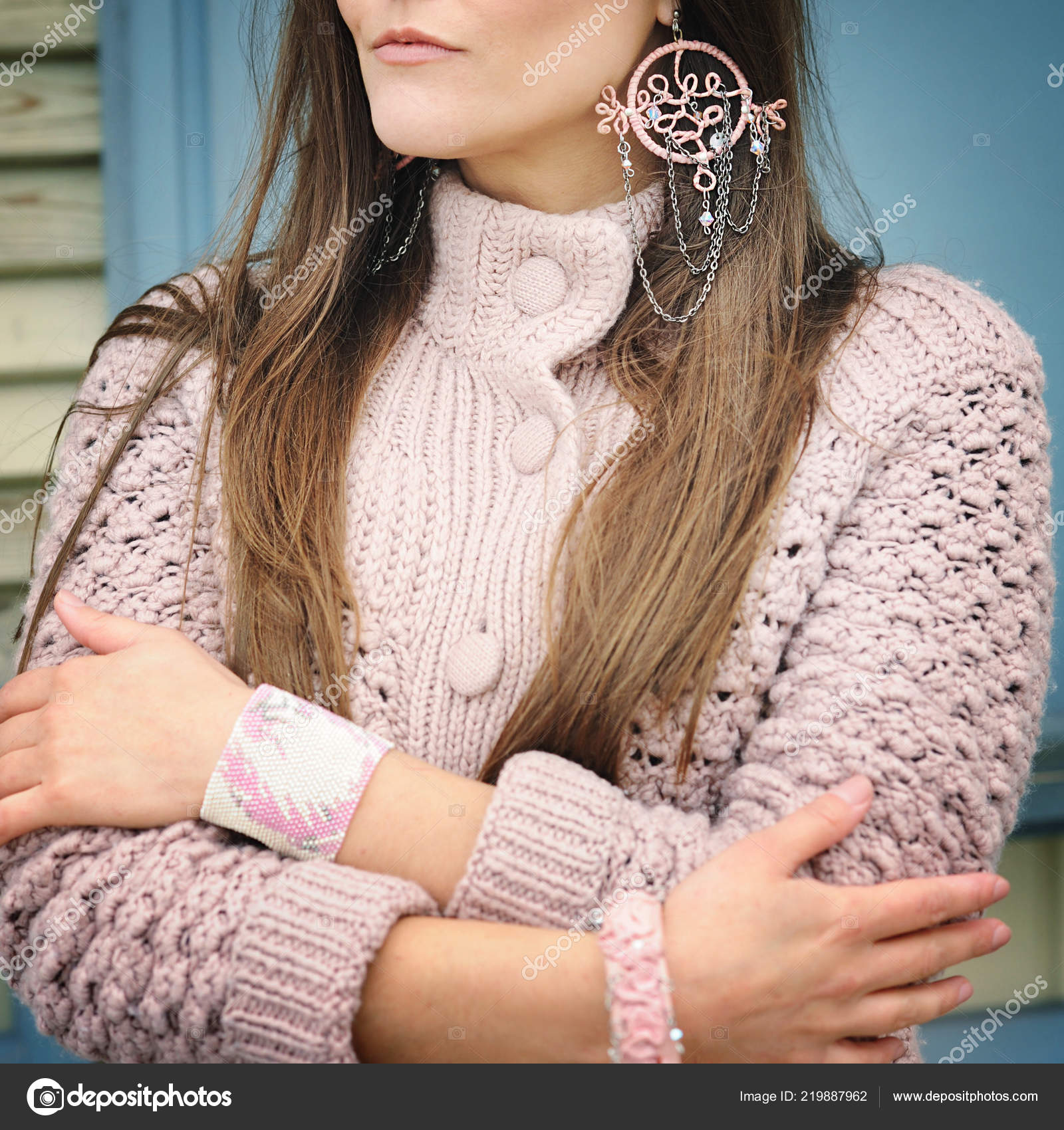 Young Woman Close Pink Boho Style Dreamcatcher Earrings Face Stock