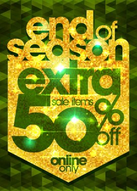 End of season extra 50% off sale items, vector banner concept