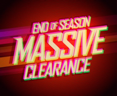 End of season massive clearance sale vector lettering fashion banner, synthwave style