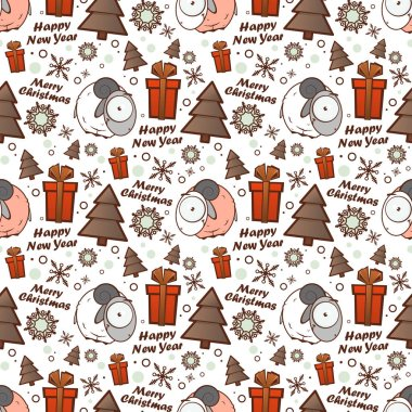 Christmas seamless pattern with cartoon sheep. Vector illustrati