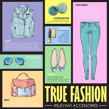 TRUE FASHIN. Set of fashion accessories. Sketch style. Vector co