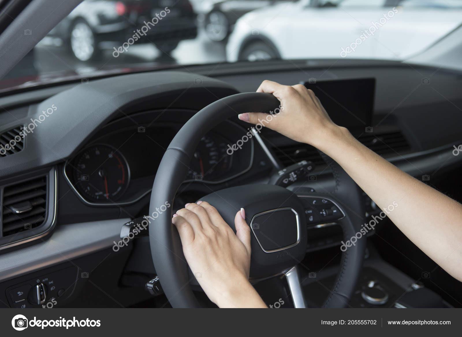 Hand Girl Stylish Manicure Lies Handlebars Saloon Car Close