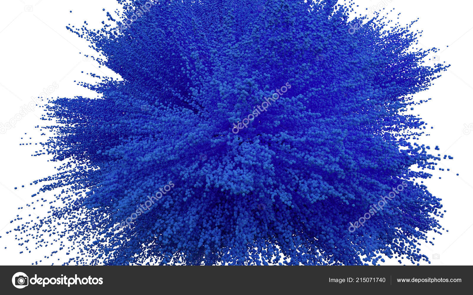 blue powder ball explosion white background blue cloud blue dust