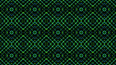Animated light shinning green and blue dots and stars square shapes. Bright shinning colored dots and stars with 3D camera movement. Abstract background with neon and stars and dots effect