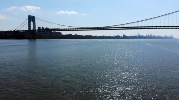 Letecký pohled na most George Washingtona v Fort Lee, Nj. George Washington Bridge je visutý most přes Hudson River připojení Nj na Manhattanu, New York. Panorama Gwb v létě