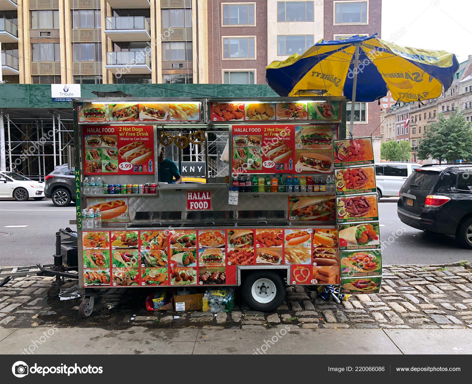 Food Trucks Vendors New York City Popular Nyc Food Truck Stock
