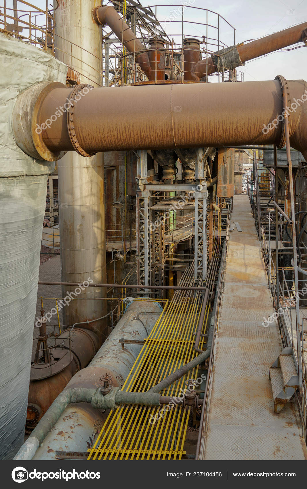 Viejas Estructuras Metálicas Fábrica Planta Industrial Con