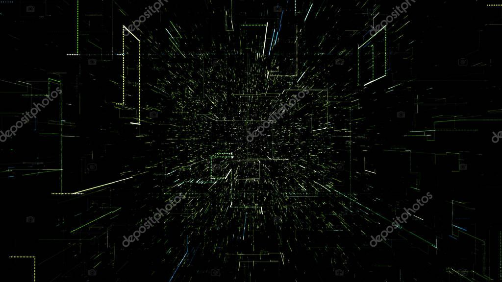 Green abstract virtual space. 3d illustration flying through digital data tunnel. Data tunnel journey, transmission of digital information. Futuristic 3d rendering of a hi-tech cyber space line & dot.