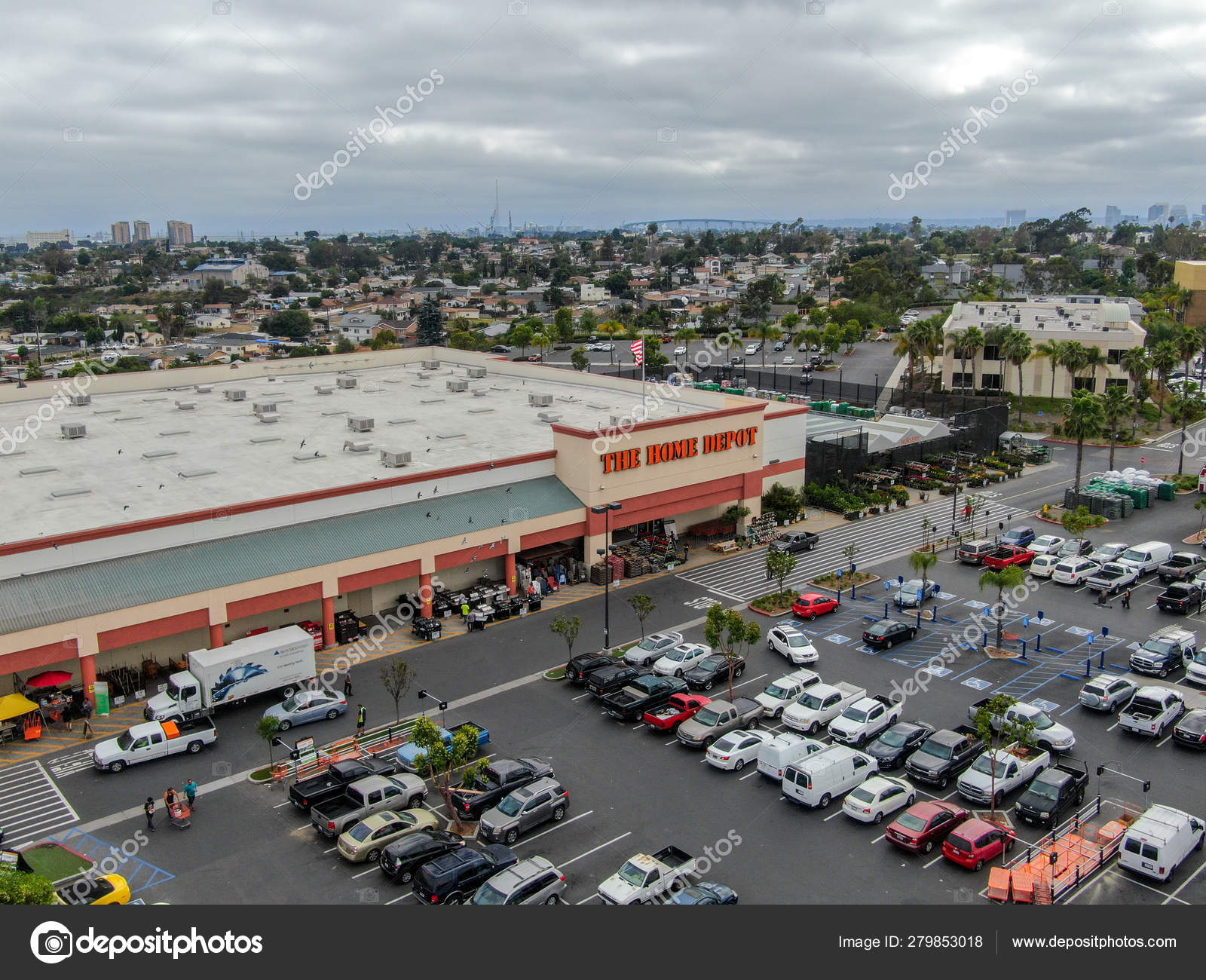 Aerial View Home Depot Store Parking Lot San Diego