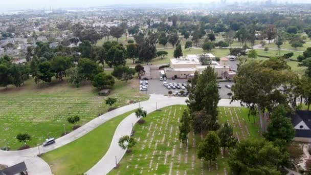 Aerial view of Greenwood Memorial Park & Mortuary. Memorial statue, funeral, cemetery, cremation in San Diego, California, USA