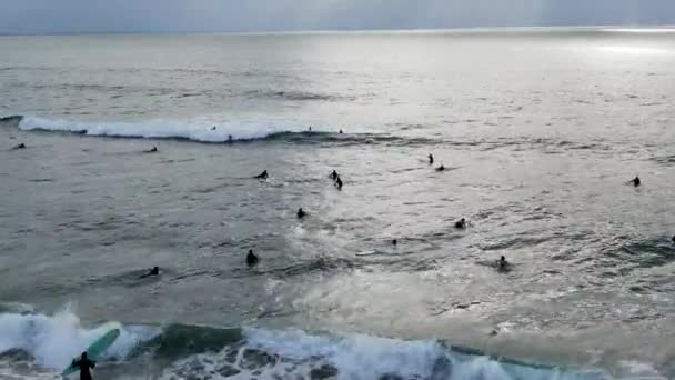 Aerial view of surfers waiting, paddling and enjoying waves