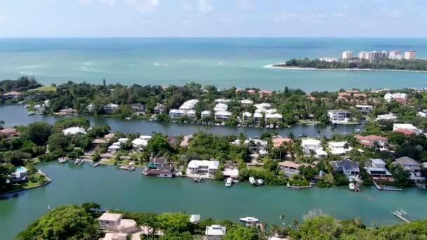 Aerial view of Siesta Key barrier island