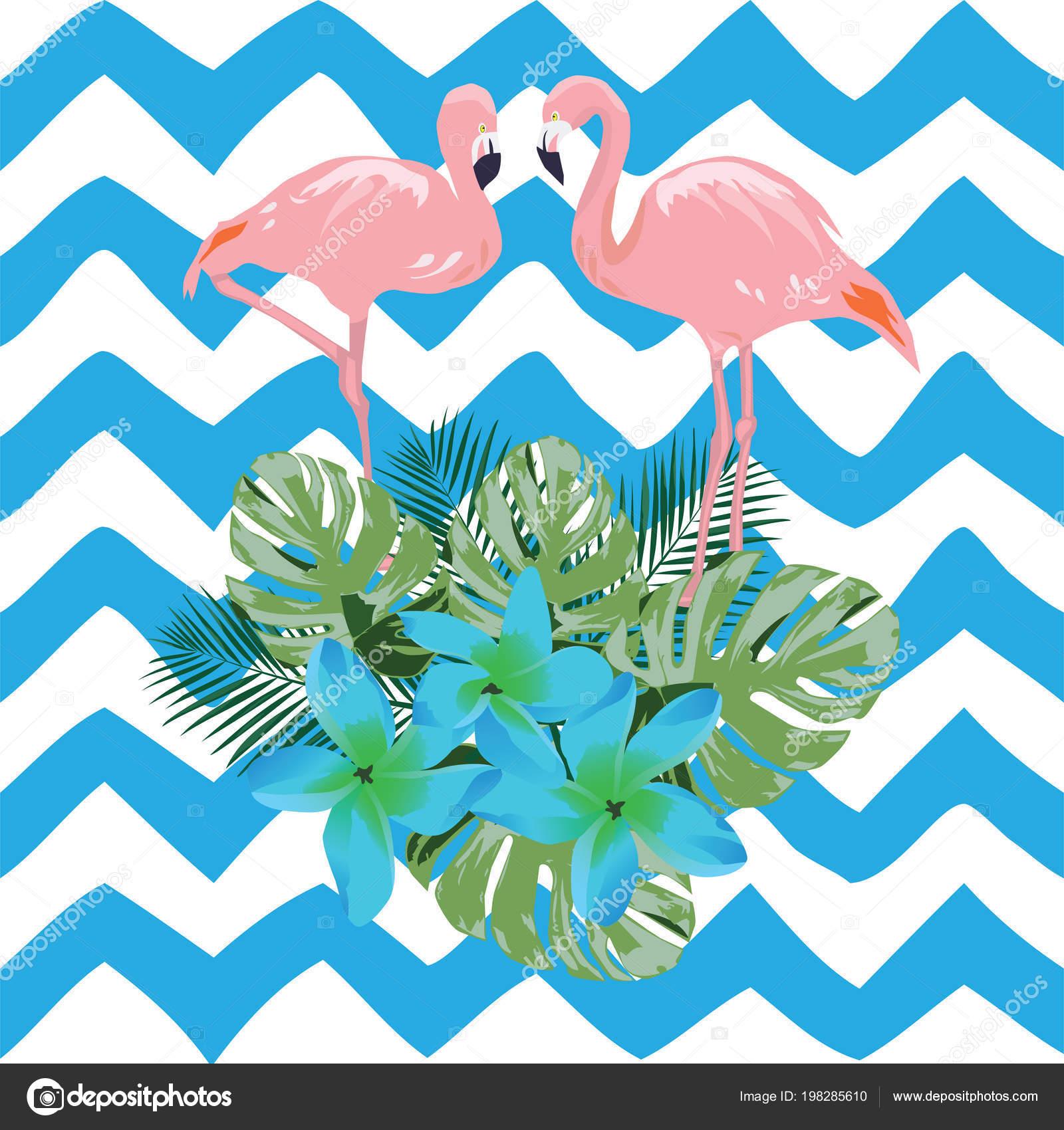 Vector Illustration Flamingo Blue Tropical Flowers Stock Vector