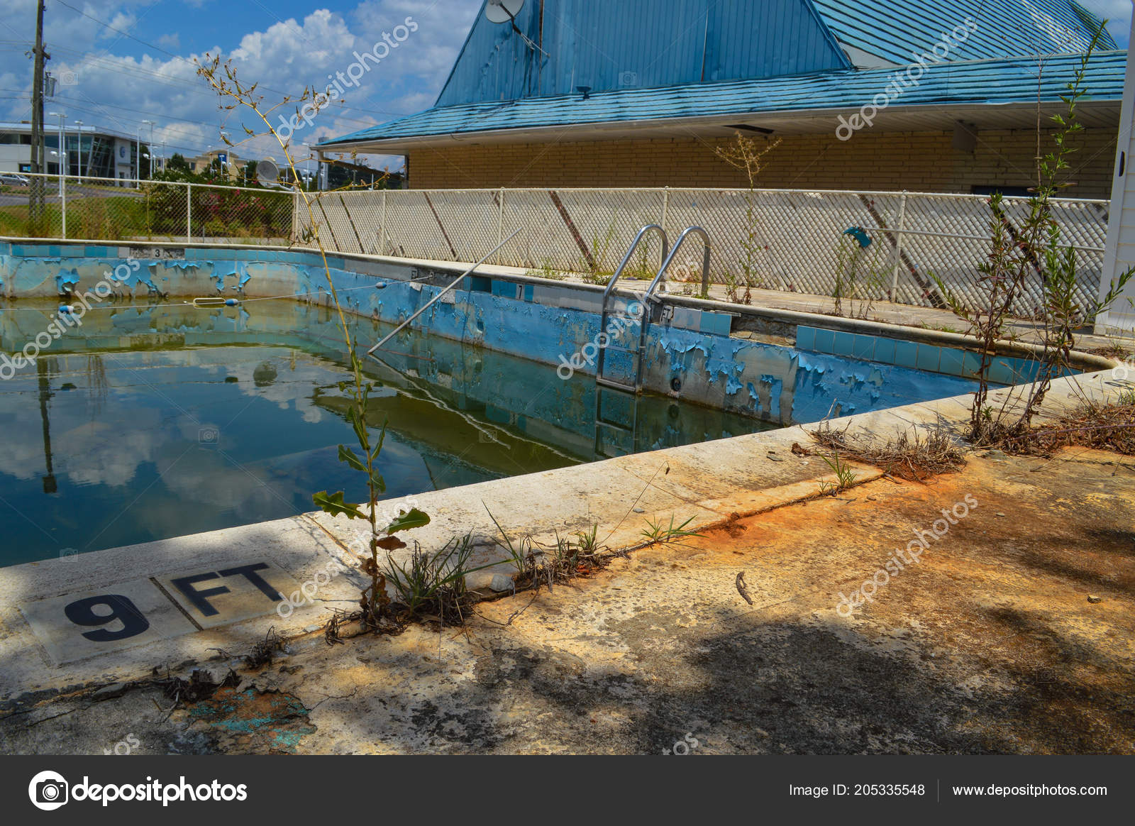 Old Dirty Pool Abandoned Deteriorating Motel Stock Photo C Urbanex 205335548