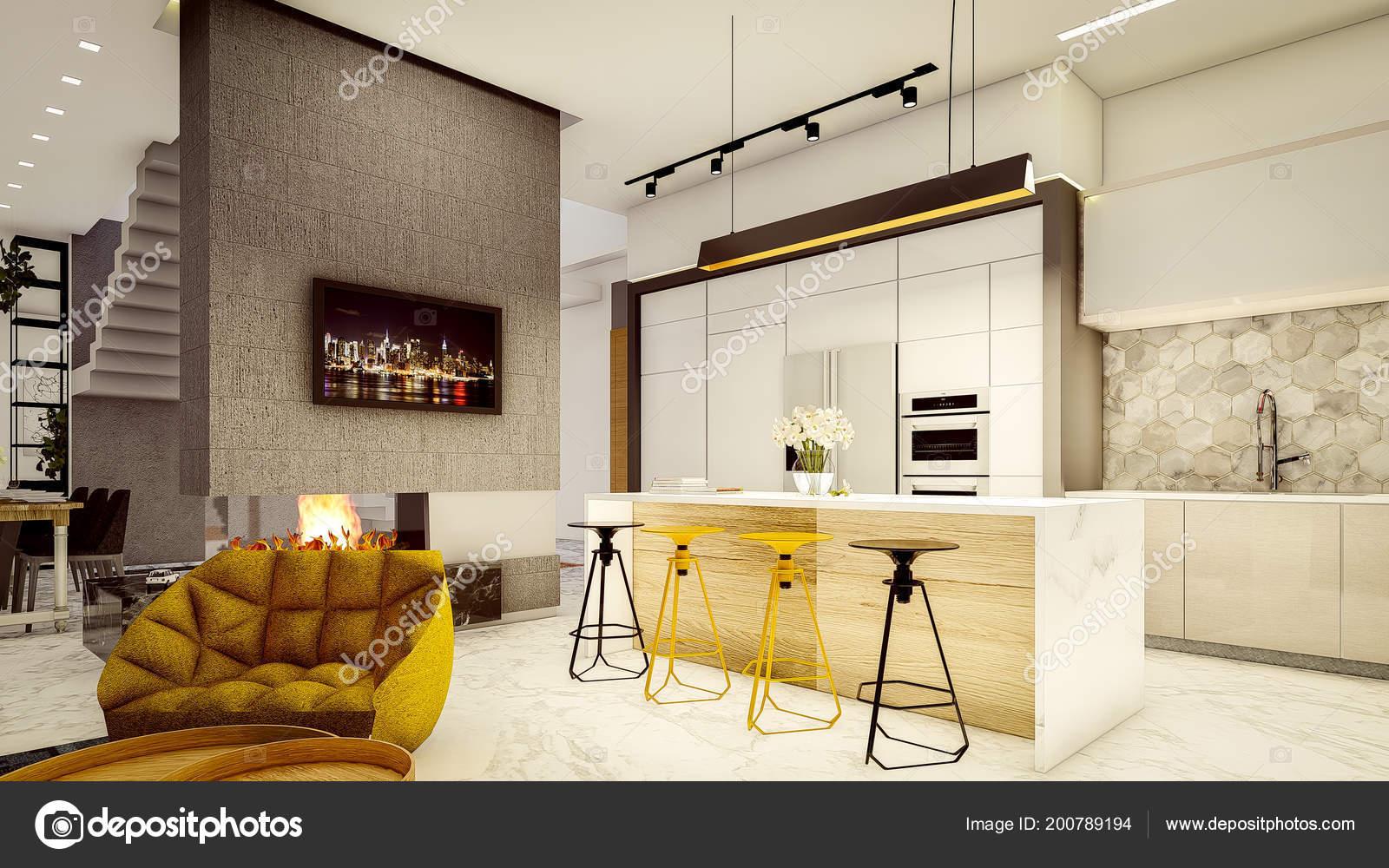 Rendono Interiore Moderno Della Cucina Vetro Fuoco Camino ...