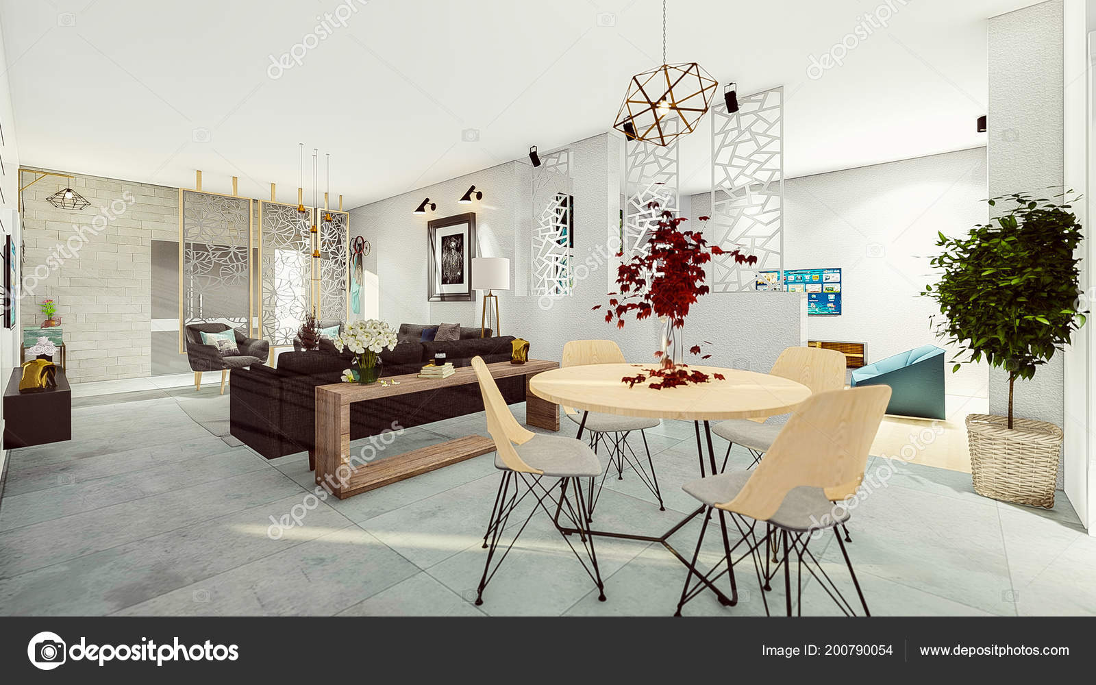 Render Modernes Apartment Esszimmer Salon — Stockfoto © ajwadhabib2 ...