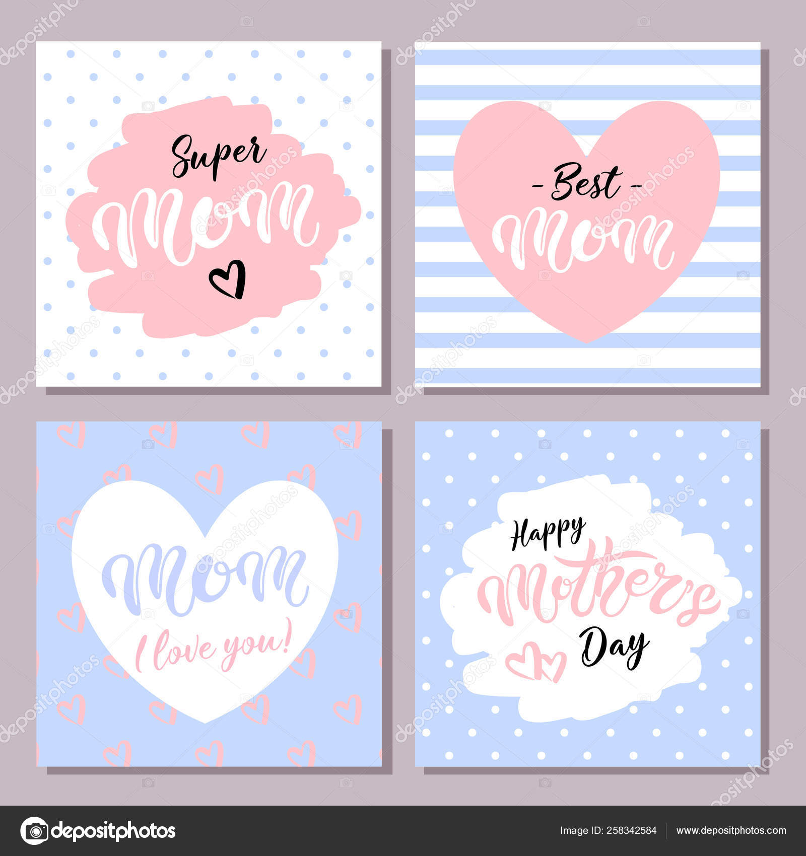 Pleasant Set Cute Greeting Cards Mother Day Hand Drawn Lettering Vector Funny Birthday Cards Online Fluifree Goldxyz