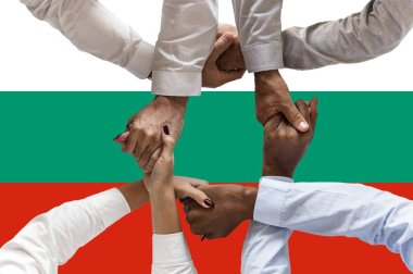 Flag of Bulgariai, intergration of a multicultural group of young people