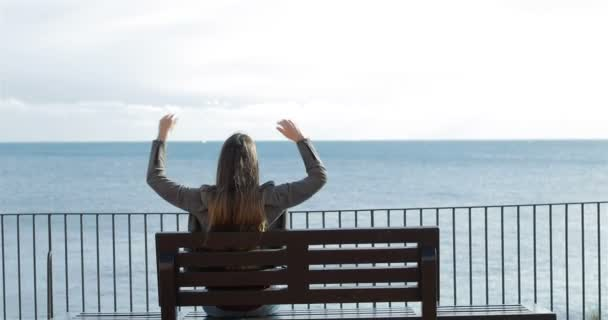 Back view of a single woman relaxing watching ocean sitting on a bench on the beach
