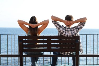 Back view of a happy couple relaxing sitting on a bench contemplating ocean on the beach