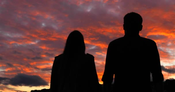 Back view silhouette of an excited couple walking and raising arms at sunset