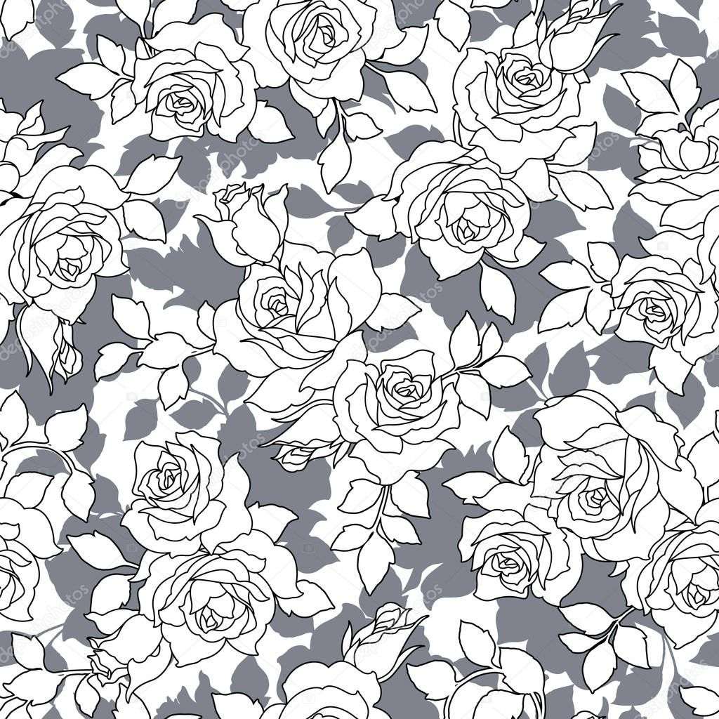 Rose illustration pattern,I designed a rose,This painting continues repeatedly seamlessly,