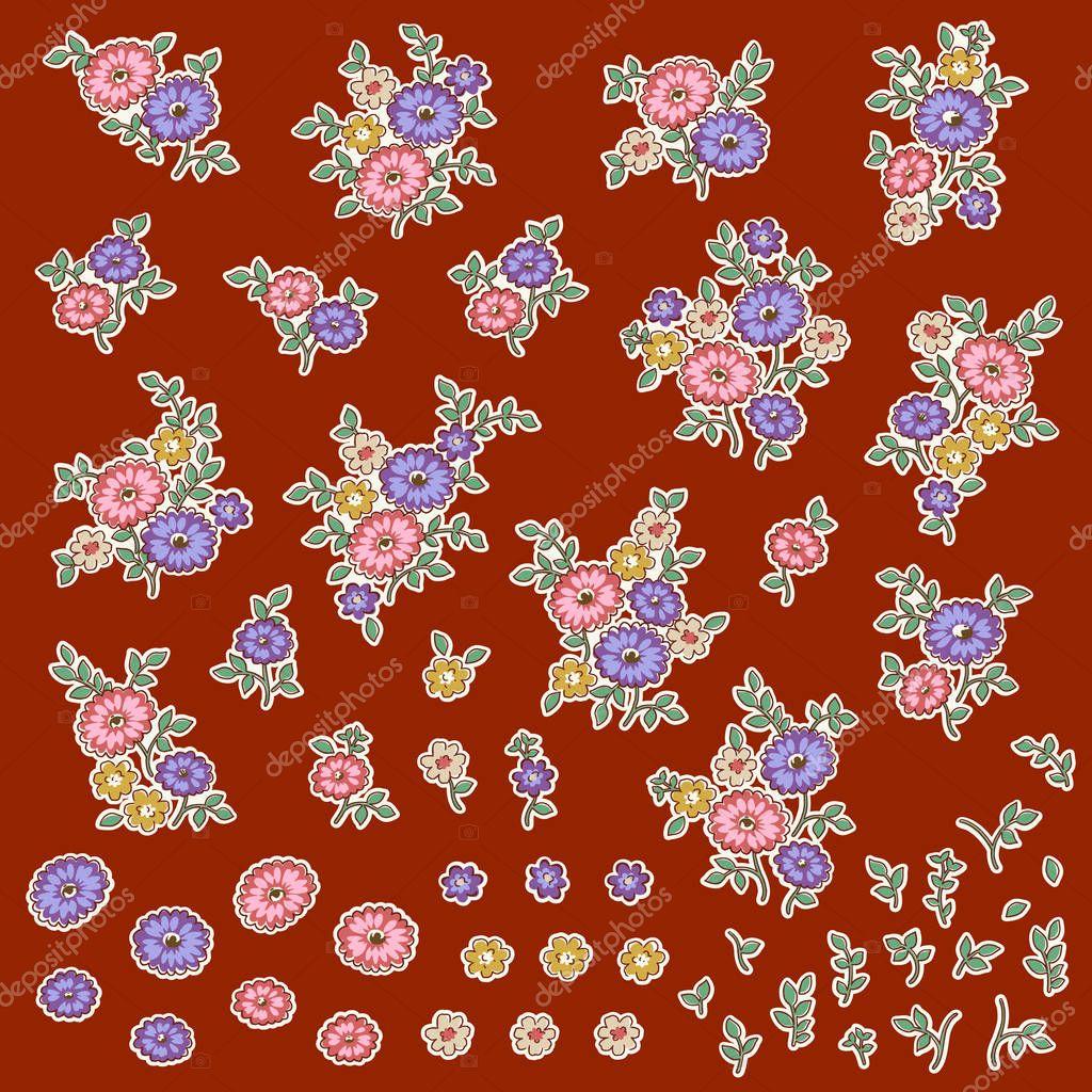 Small flower illustration material