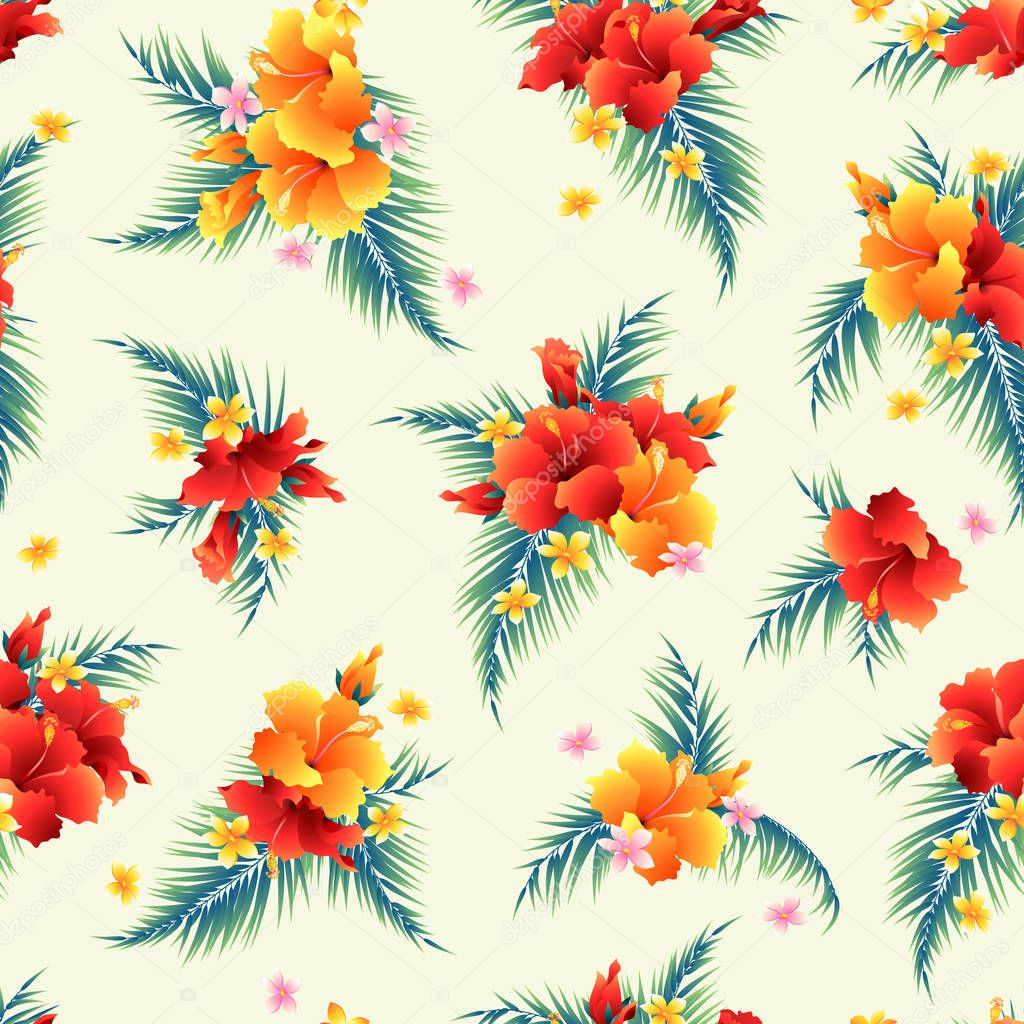 Hibiscus flower pattern illustration