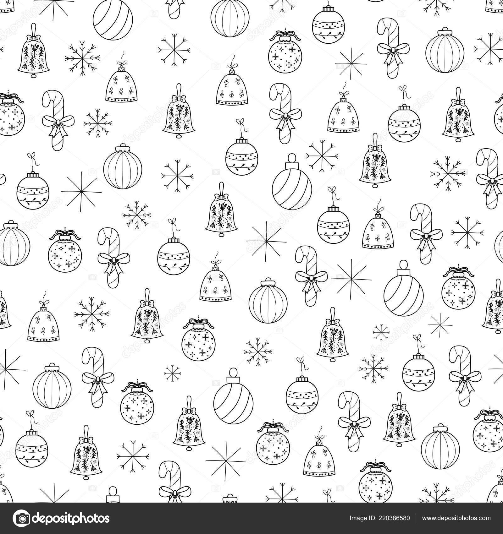 Patrón Con Decoraciones Navidad Para Diseño Mano Dibujada