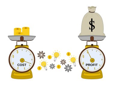 Isolated benefit money of business with cost and idea, goal concepts