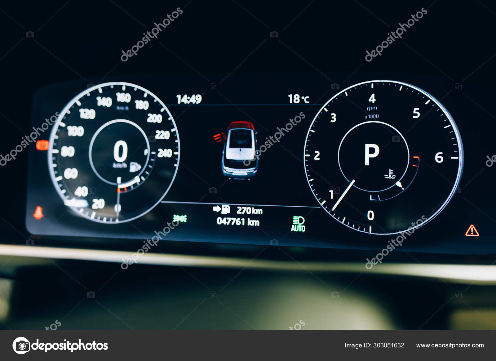 Modern Car Automobile Dashboard Panel Car Hud Speedometer Instrument Panel Stock Photo C Htanak 303051632