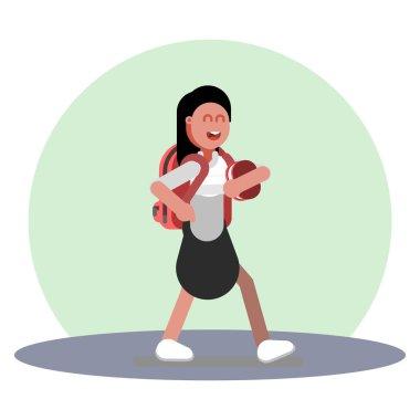 Girl walking in uniform