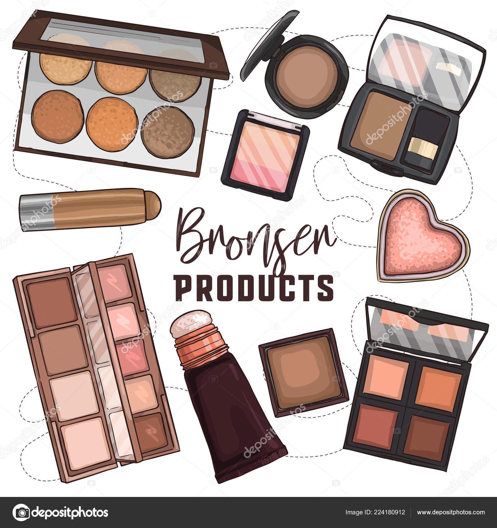 Makeup Product Sketch Sketch Set Of Makeup Products Stock