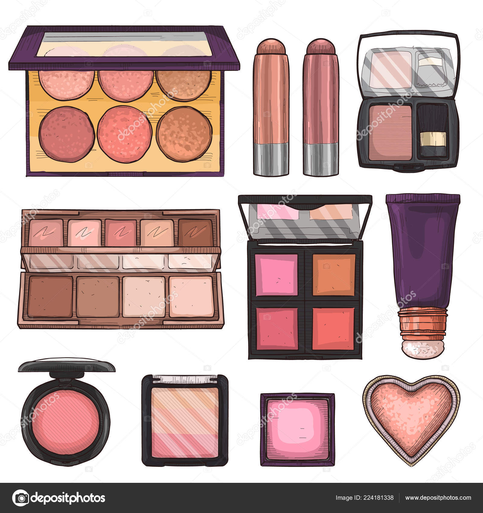 Sketch Set Of Makeup Products Stock Vector C Netkoff 224181338