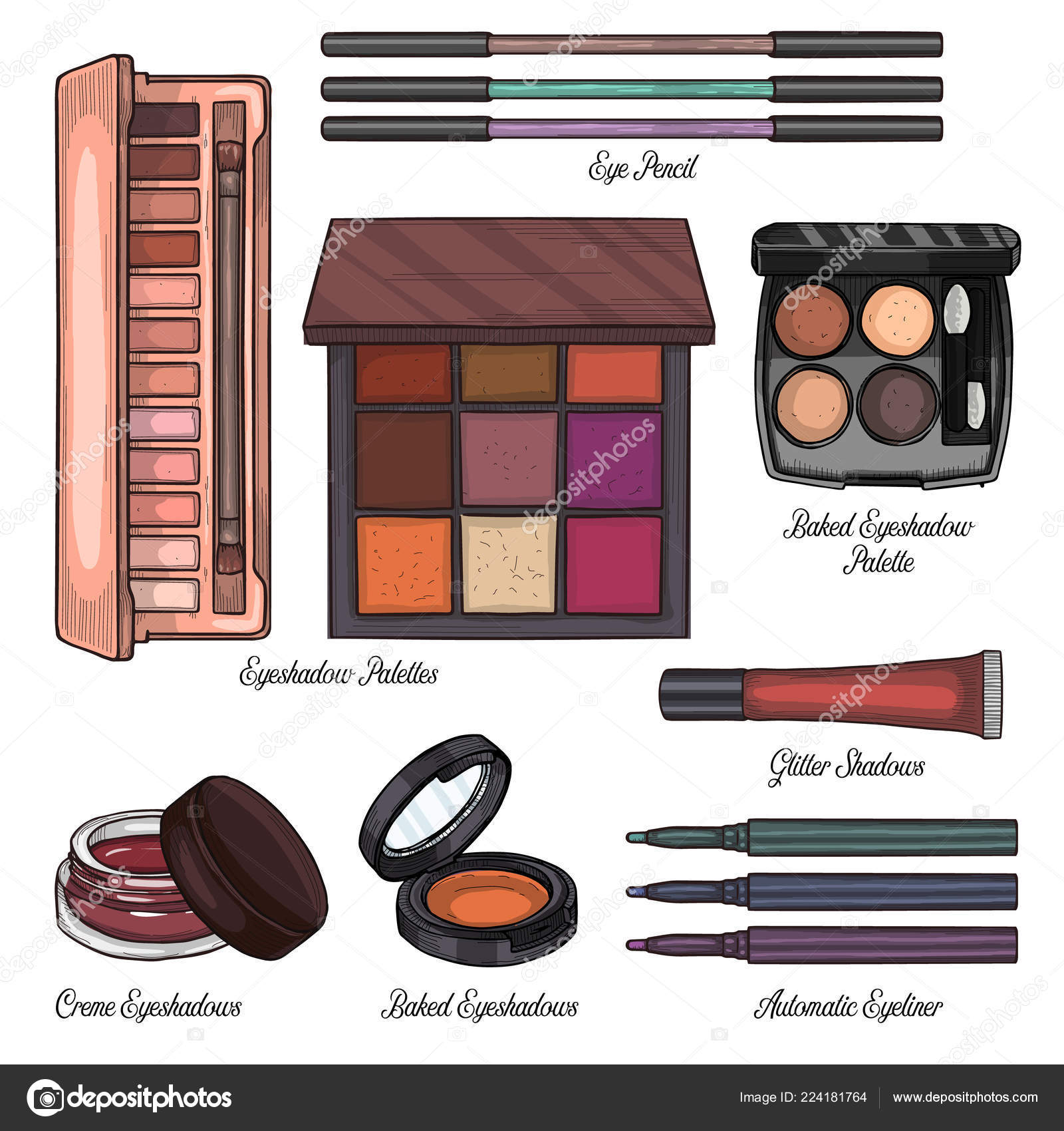 Sketch Set Of Makeup Products Stock