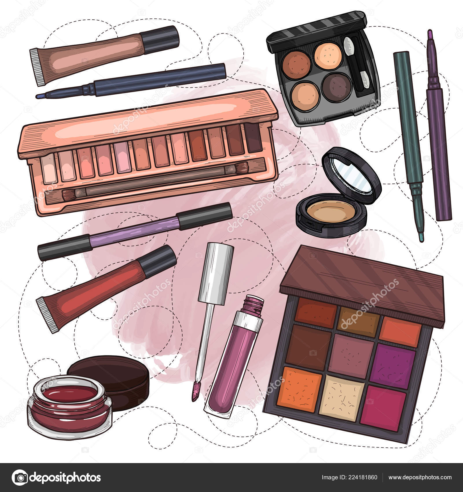 Sketch Set Of Makeup Products Stock Vector C Netkoff 224181860