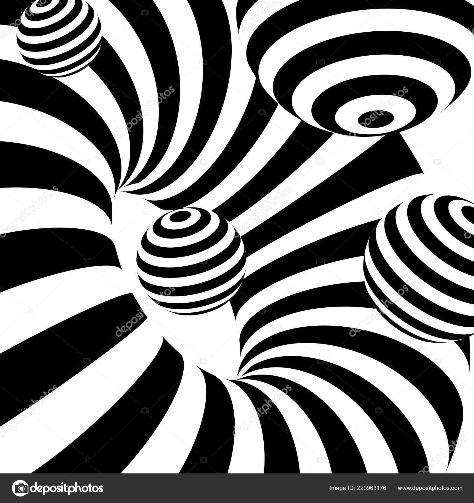Noir Blanc Abstrait Stripes Ilusion Optique Art Fond Image