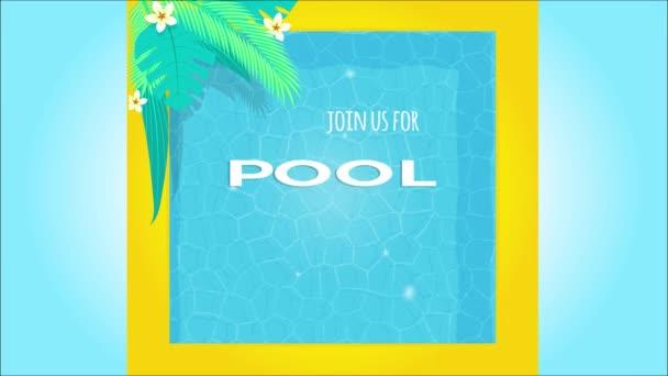 Animace pozvánky na party u bazénu 4K. Flayer tamplate horní pohled na zázemí bazénu s tropickými palmovými listy, bazénovými plováky, tropickým ovocem a zmrzlinovým nanukem, vlnitou vodní hladinou Záběry.