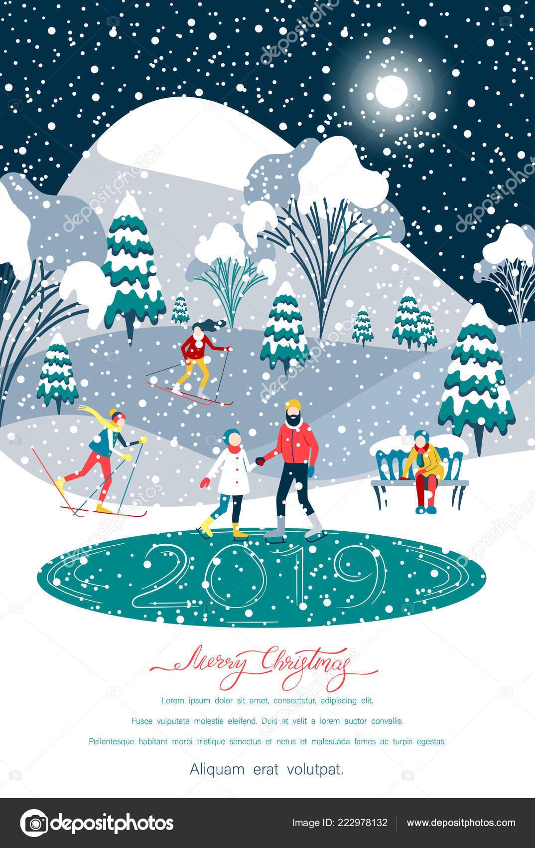 Skifahren über Weihnachten 2019.Frohe Weihnachten 2019 Poster Mit Passanten Draußen Im Park
