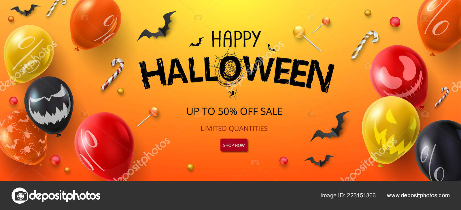 686291e9114 Oranžový nápis-Halloween výprodej přechodu nebo leták s balónky a– stock  ilustrace