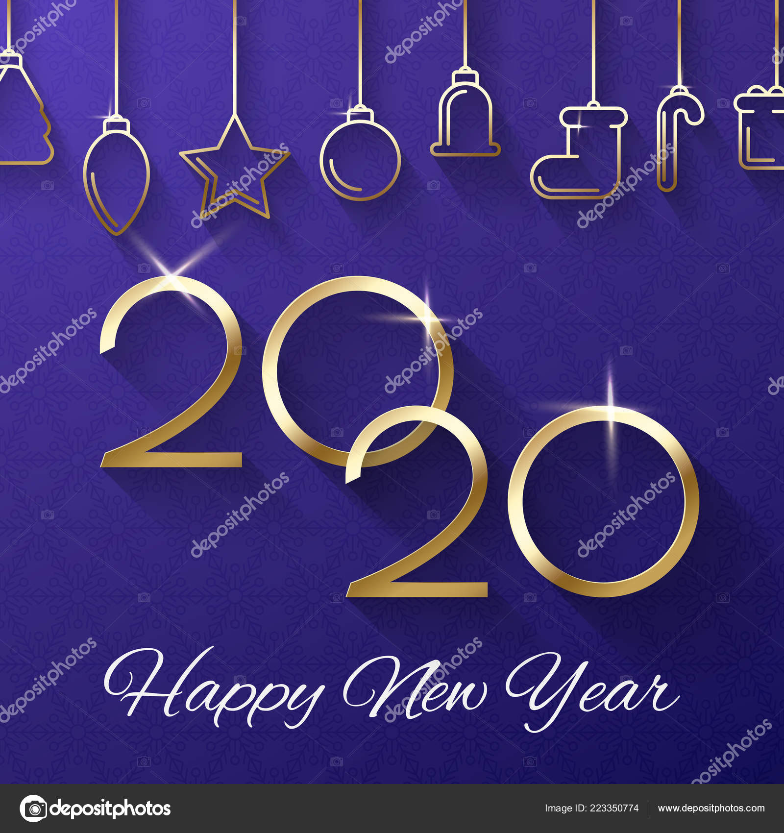 Happy New Year 2020 greeting card with Christmas ...