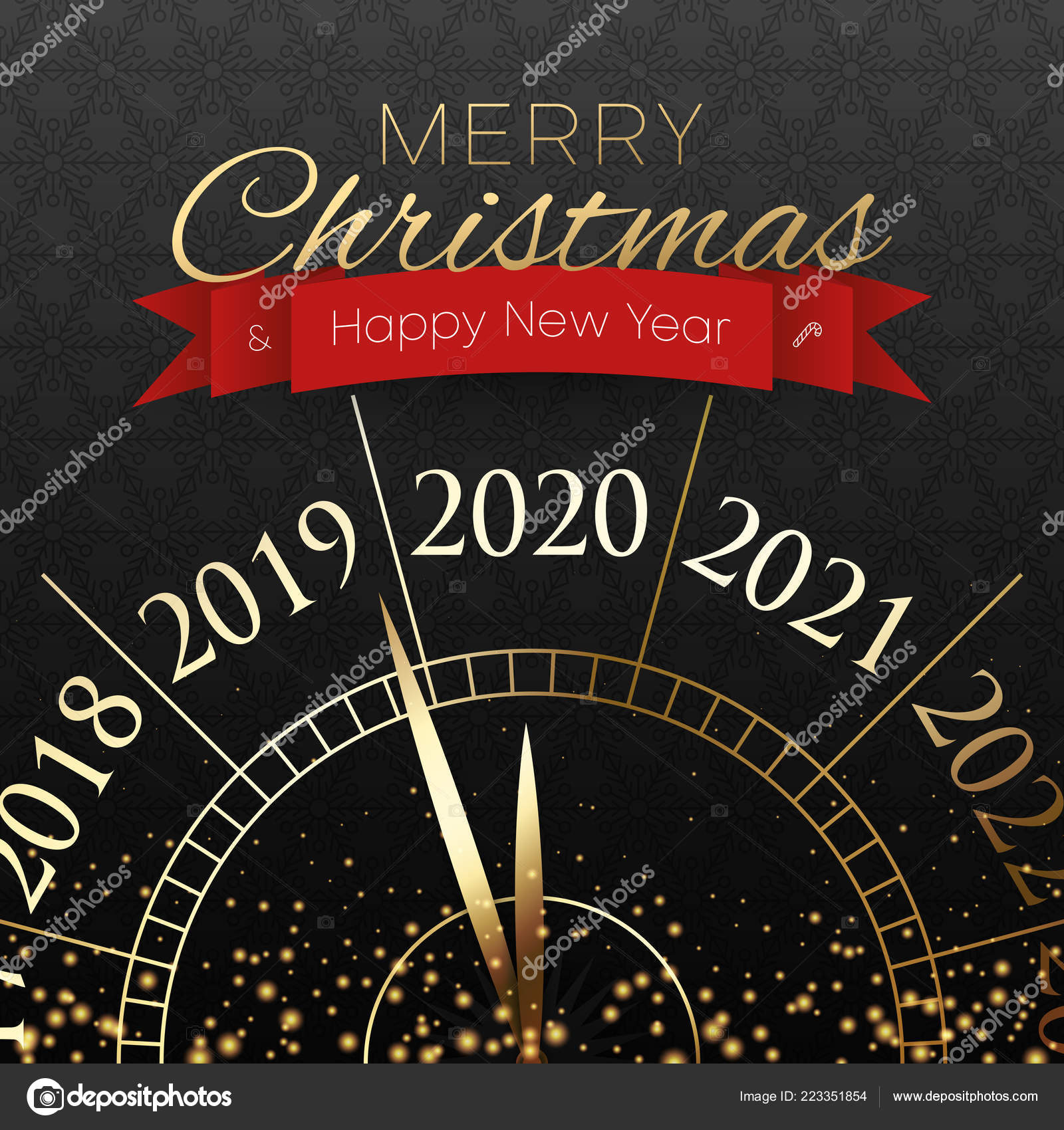 Merry Christmas Images 2020.Merry Christmas And Happy New Year 2020 Card With Clock